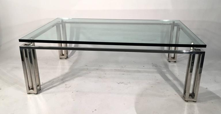 Late 20th Century Chrome Base Coffee Table with Floating Glass Top For Sale