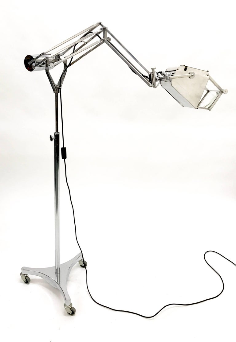 English Hadrill and Horstmann Counter Balance Trolley Floor Lamp For Sale