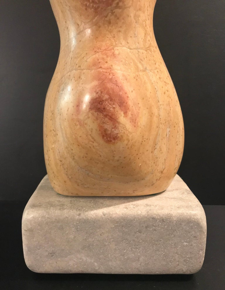 20th Century Modern Art Marble Sculpture on Limestone Plinth Base In Good Condition For Sale In Lake Success, NY