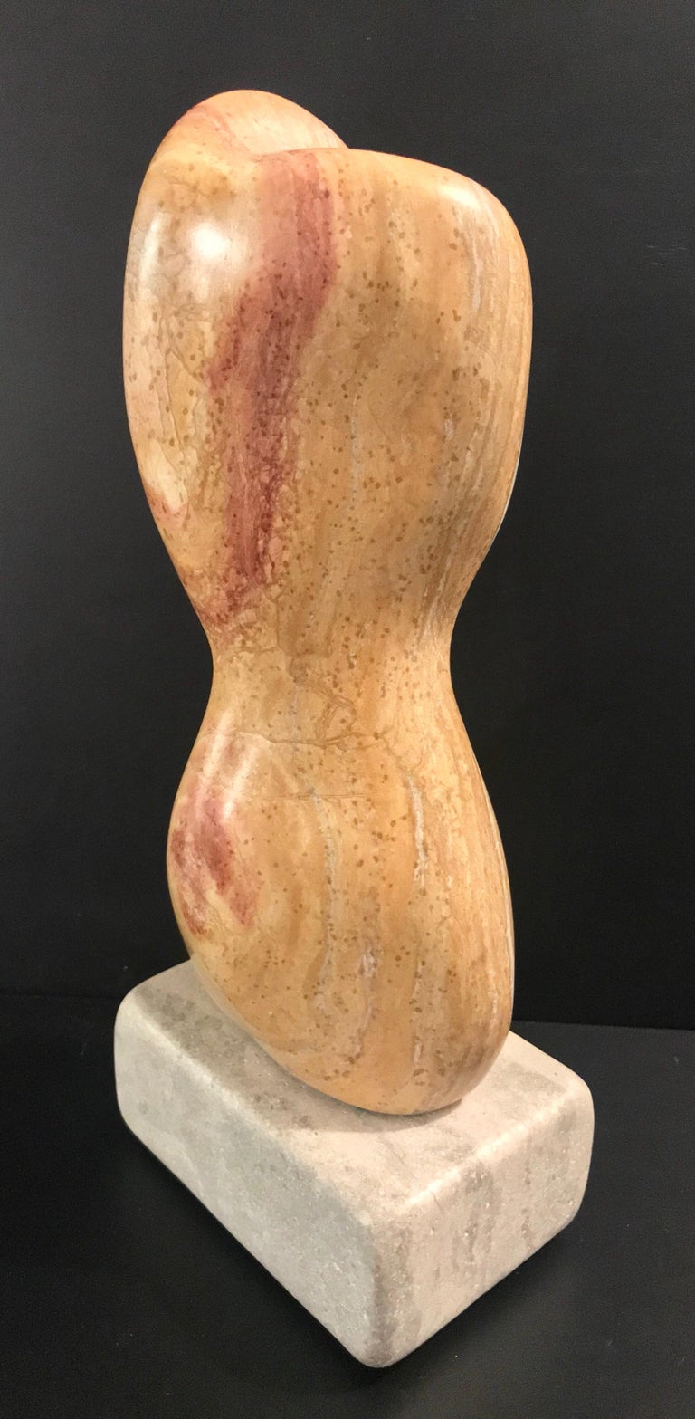 20th Century Modern Art Marble Sculpture on Limestone Plinth Base For Sale 1