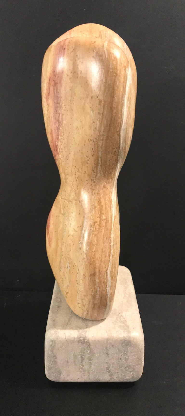 20th Century Modern Art Marble Sculpture on Limestone Plinth Base For Sale 2