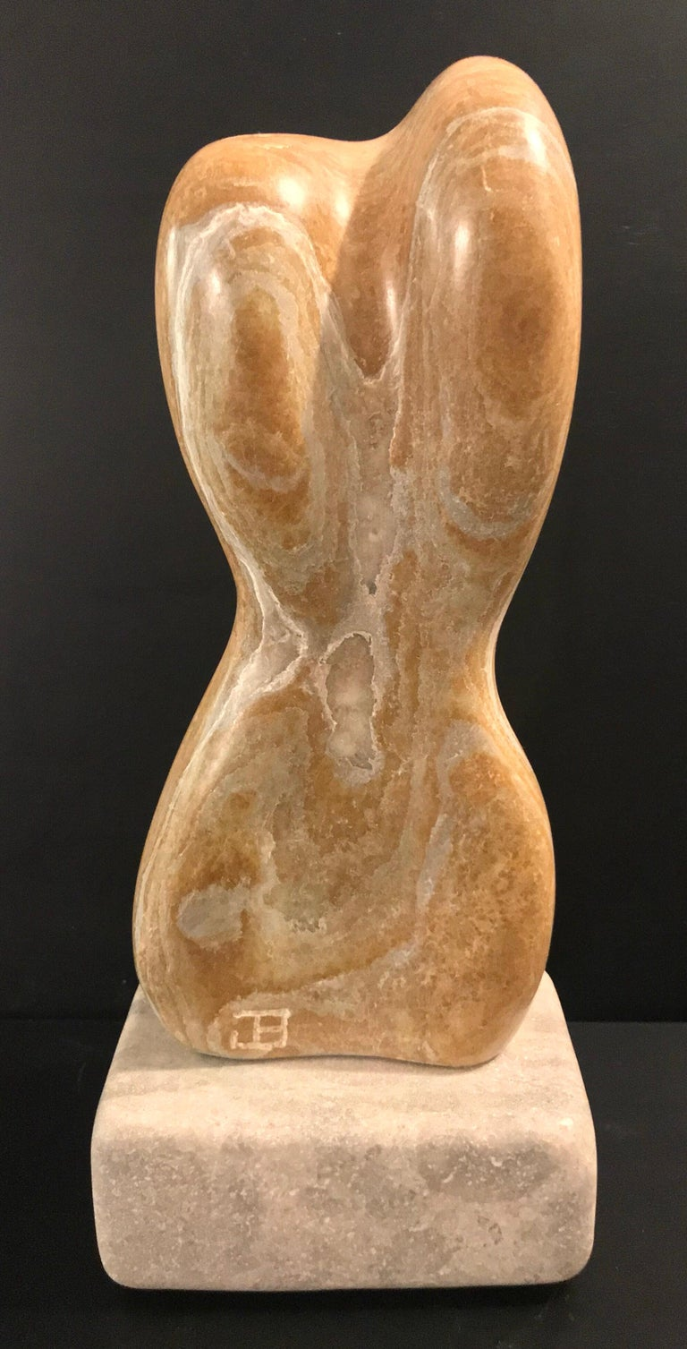 20th Century Modern Art Marble Sculpture on Limestone Plinth Base For Sale 3
