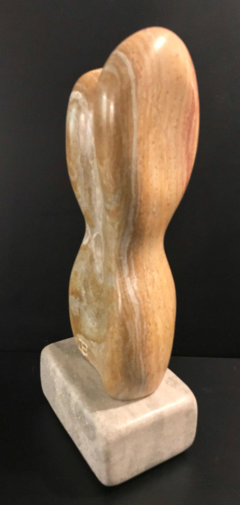 20th Century Modern Art Marble Sculpture on Limestone Plinth Base For Sale 6