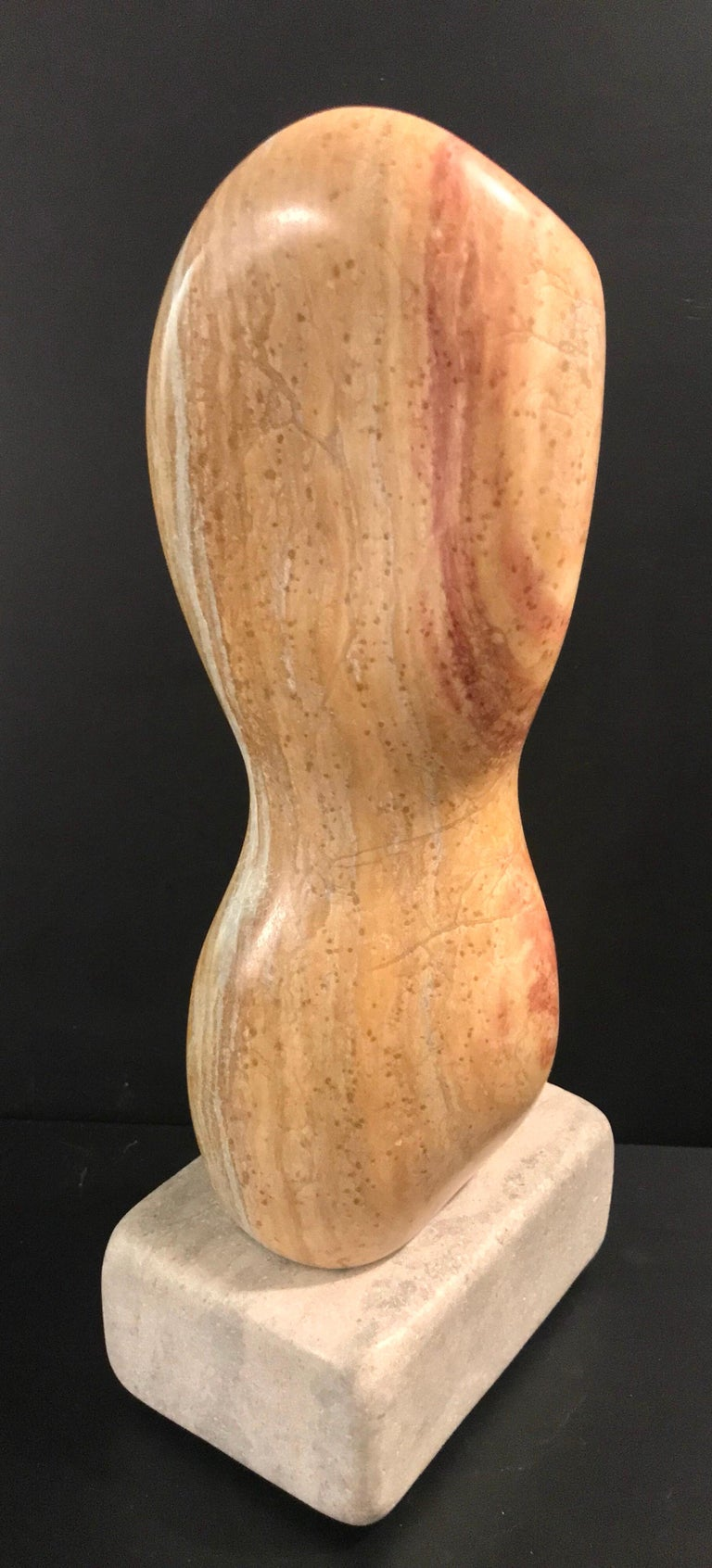 20th Century Modern Art Marble Sculpture on Limestone Plinth Base For Sale 7