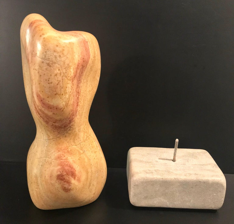 20th Century Modern Art Marble Sculpture on Limestone Plinth Base For Sale 10