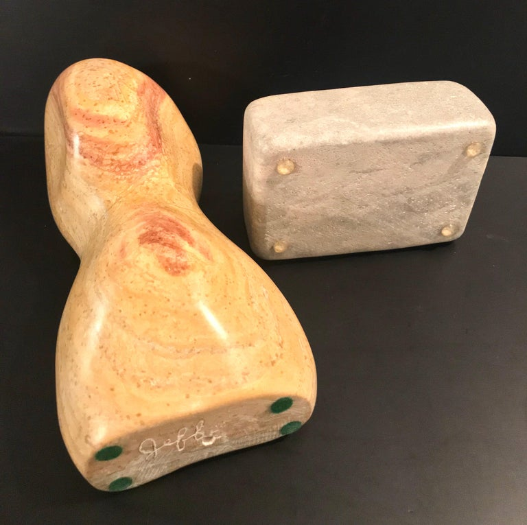 20th Century Modern Art Marble Sculpture on Limestone Plinth Base For Sale 11