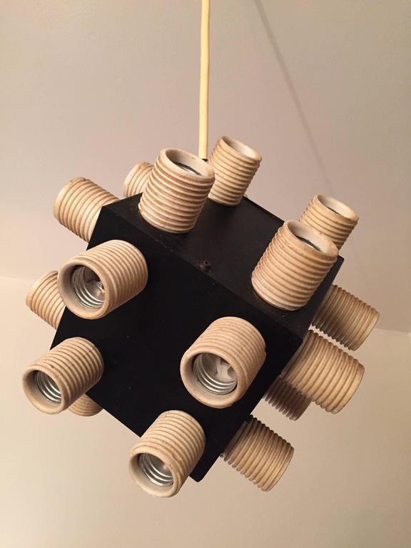 Late 20th Century Robert Sonneman Twenty-four-bulb Cube Chandelier For Sale