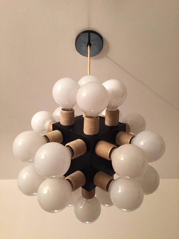 American Robert Sonneman Twenty-four-bulb Cube Chandelier For Sale
