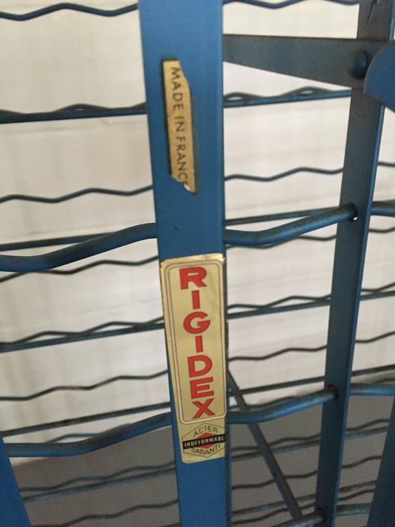French Strap Metal Industrial Rigidex 100 Bottle Wine Rack