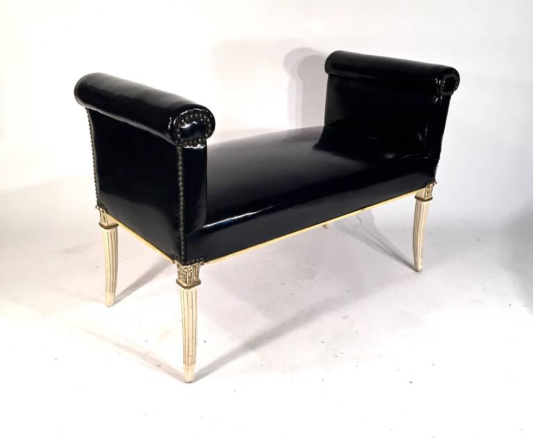 Window Seat Bench in Patent Faux Leather For Sale at 1stdibs