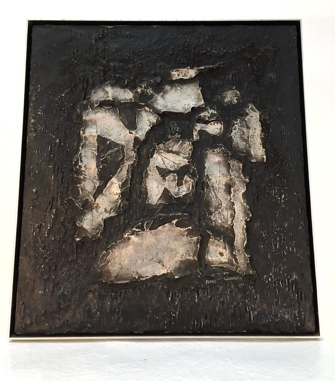 Boris Aronson metal on wood framed wall art sculpture titled