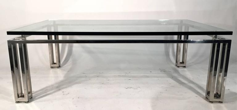 Chrome Base Coffee Table with Floating Glass Top For Sale 1