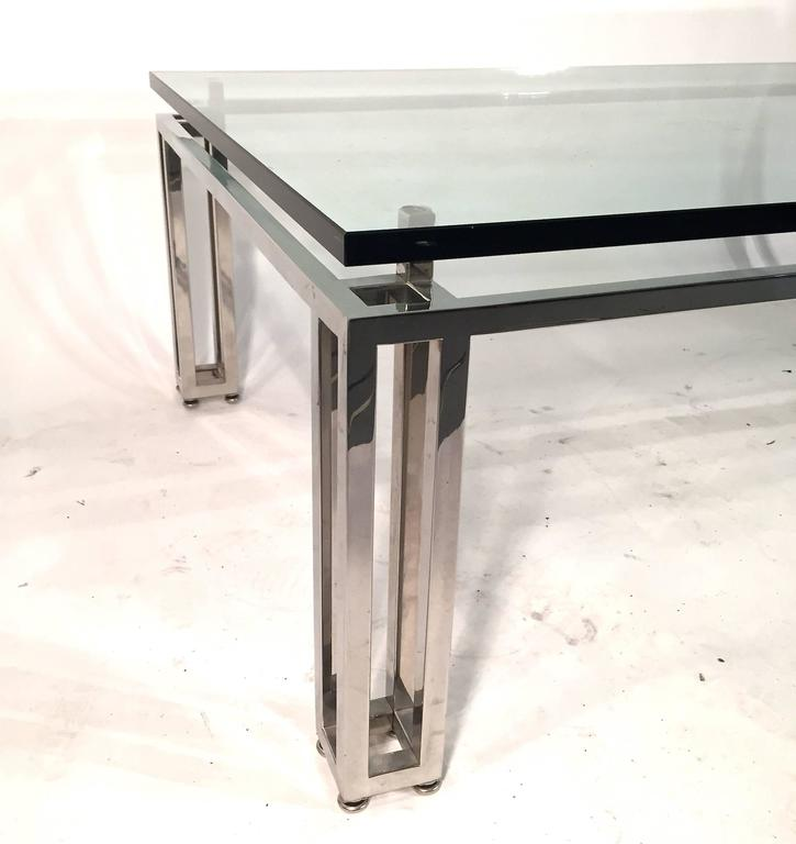 Chrome Base Coffee Table with Floating Glass Top In Good Condition For Sale In Lake Success, NY