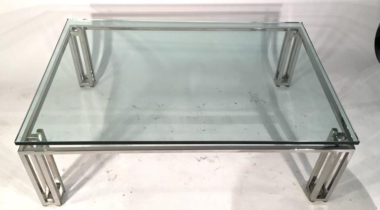 Chrome Base Coffee Table with Floating Glass Top For Sale 2