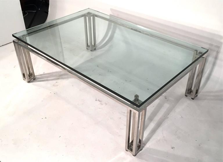 Chrome Base Coffee Table with Floating Glass Top For Sale 5