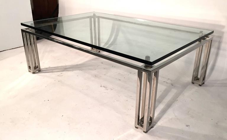 Chrome Base Coffee Table with Floating Glass Top For Sale 6