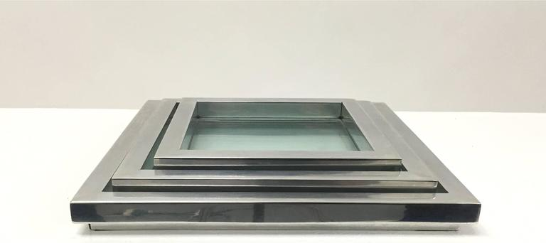 Chrome and Glass Nesting Trays in the Manner of Willy Rizzo For Sale 2