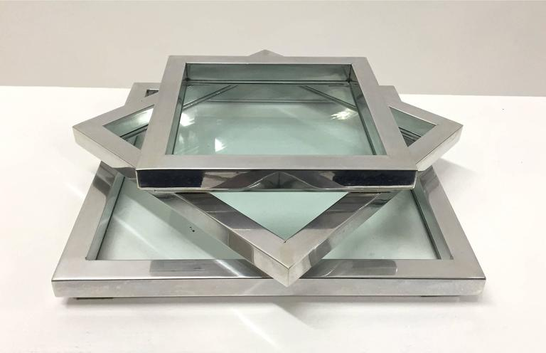 Chrome and Glass Nesting Trays in the Manner of Willy Rizzo For Sale 3