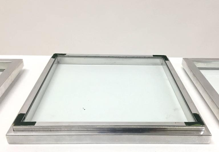 Chrome and Glass Nesting Trays in the Manner of Willy Rizzo For Sale 5
