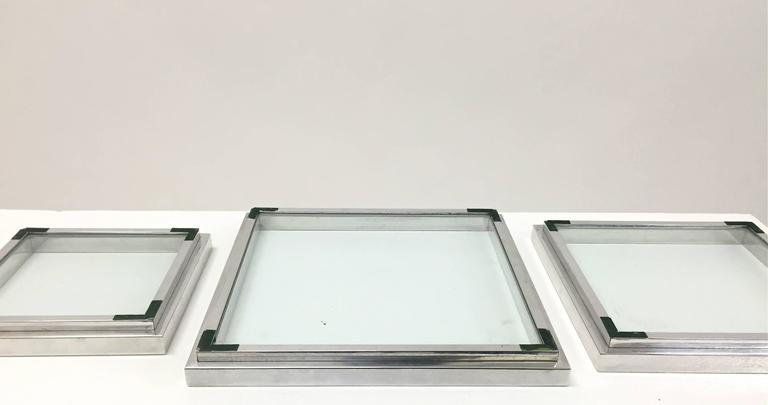Chrome and Glass Nesting Trays in the Manner of Willy Rizzo For Sale 6