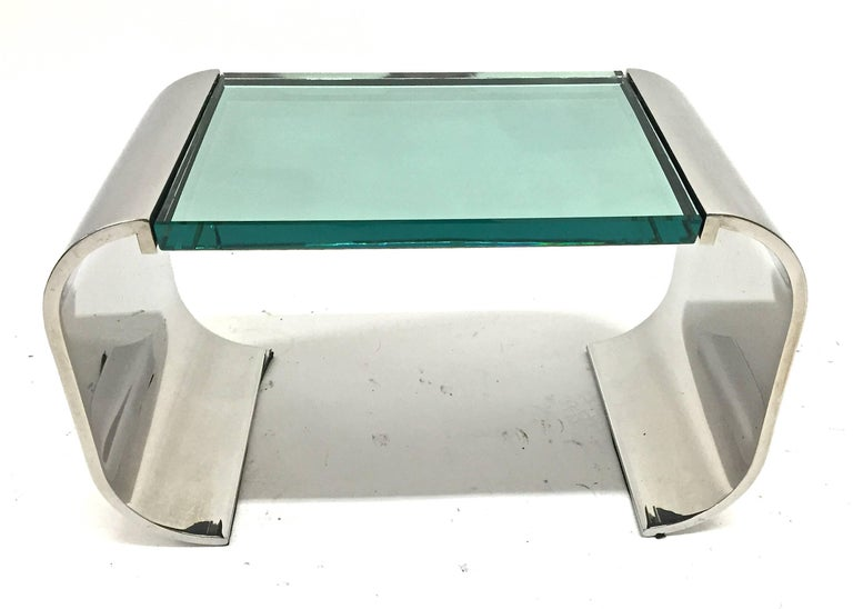 Stanley Jay Friedman for Brueton stainless steel and glass sculptural Macao low table, 1970s.