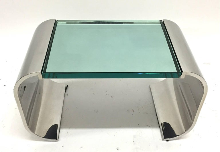 American Stanley Jay Friedman for Brueton Stainless Steel and Glass Macao Low Table For Sale