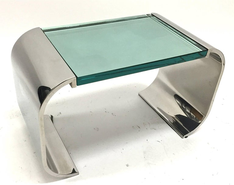 Late 20th Century Stanley Jay Friedman for Brueton Stainless Steel and Glass Macao Low Table For Sale