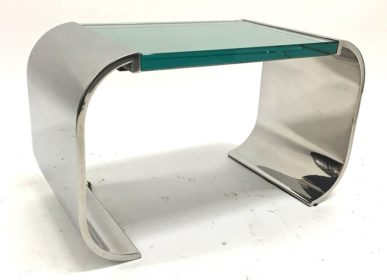 Stanley Jay Friedman for Brueton Stainless Steel and Glass Macao Low Table For Sale 4