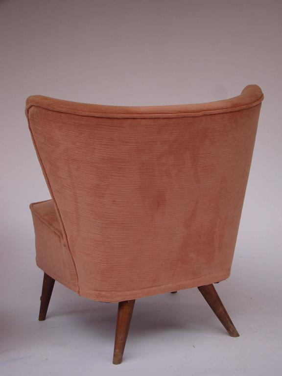 French 1960s Pair Of Peach Color Velvet Low Chairs Without Arms At 1stdibs