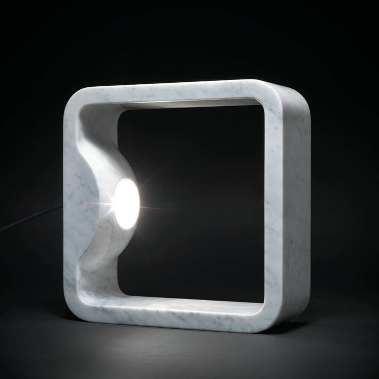 US 110v Carrara marble table lamp with brushed nickel metal parts, available from showroom display.  Measures: 12.6