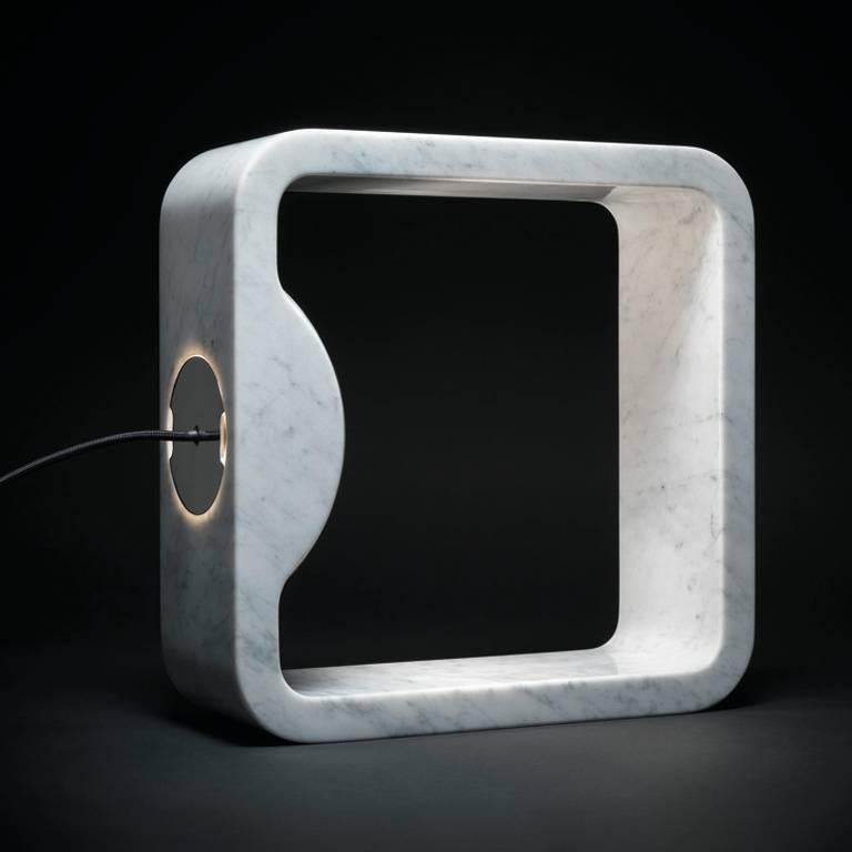 Modern Quattrolati Carrara Marble Table Lamp by Hisham Kulhanek For Sale