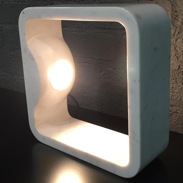 Contemporary Quattrolati Carrara Marble Table Lamp by Hisham Kulhanek For Sale