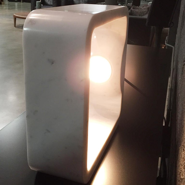 Quattrolati Carrara Marble Table Lamp by Hisham Kulhanek For Sale 4