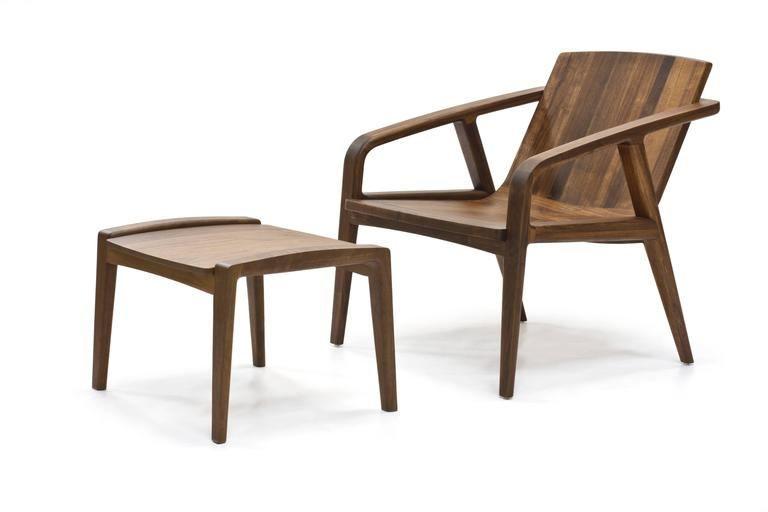 Oiled Pilot Lounge Chair Ottoman in Solid Walnut by Scott Mason for Wooda For Sale