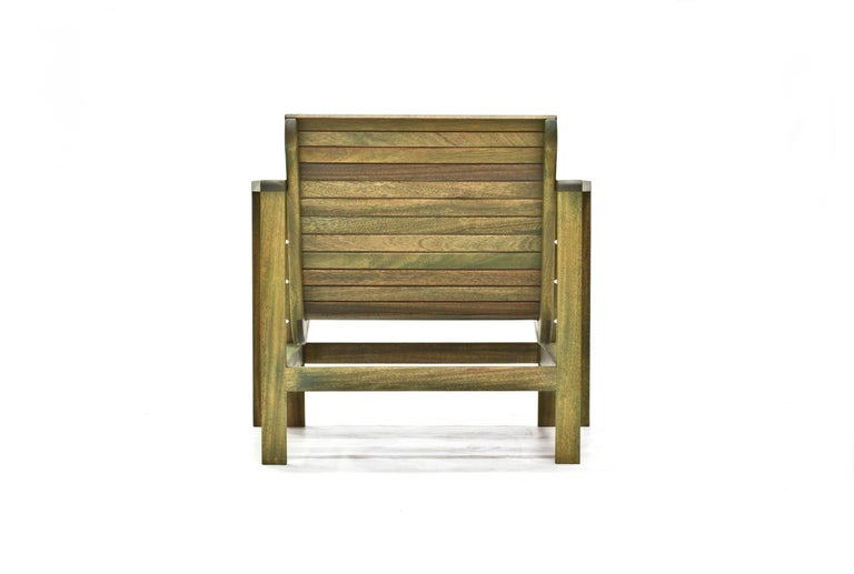 Hand-Crafted Uti 'Ooh-Tee' Chair in Mahogany with Evergreen Finish, Wooda Original Design For Sale