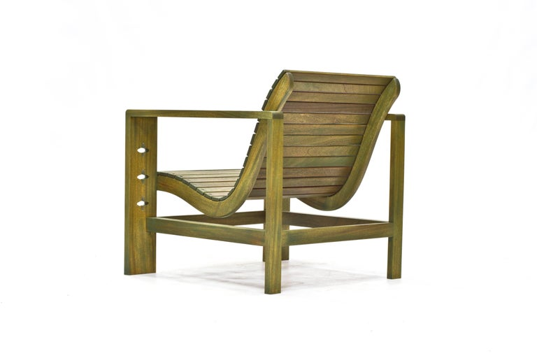 American Uti 'Ooh-Tee' Chair in Mahogany with Evergreen Finish, Wooda Original Design For Sale