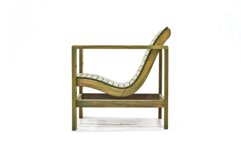 Mid-Century Modern Uti 'Ooh-Tee' Chair in Mahogany with Evergreen Finish, Wooda Original Design For Sale