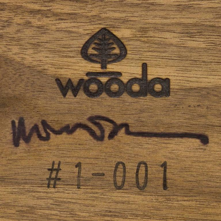 Contemporary Sine Wave Console in Oiled Walnut and Mica by Michael Dreeben for Wooda For Sale