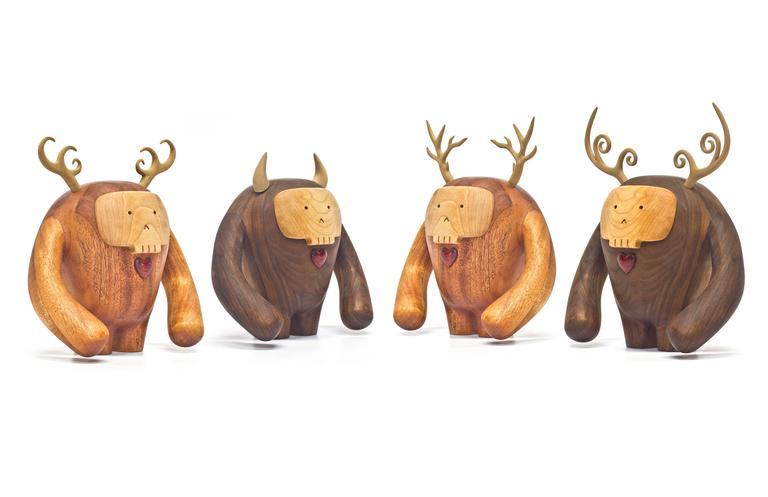 Hand-Crafted Hermanos Calavera Traicionera in Oiled Mahogany by Miguel & Ilse Silva for Wooda For Sale