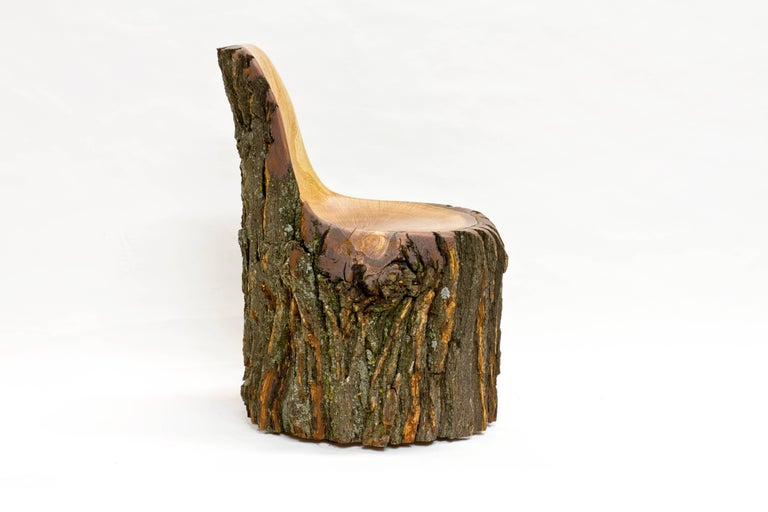 American Modern Log Type E in Solid Red Oak, Bark on by Tucker Viemeister For Sale