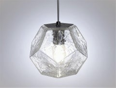 Modern Handmade Glass Lighting - Hedron Series Pendant in Bubbled Glass