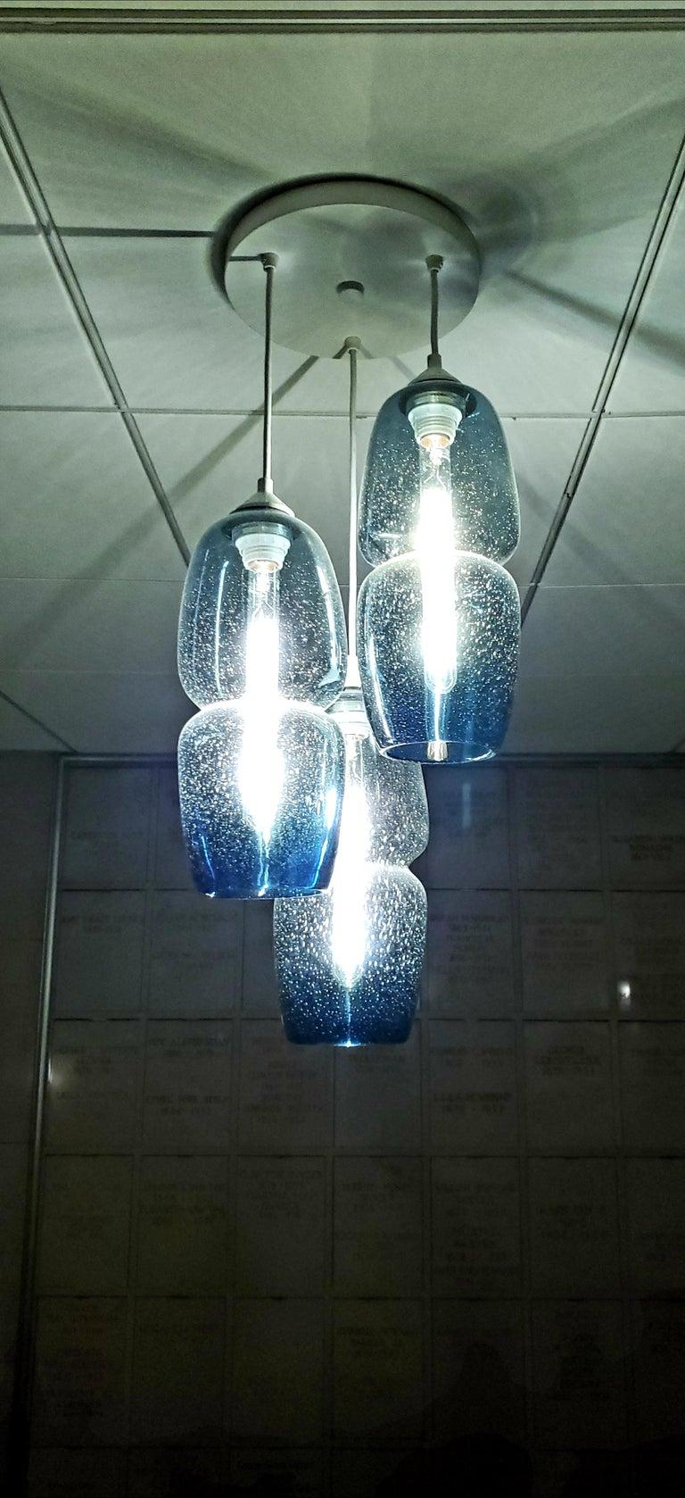 American Groove Series Pod Pendant, Contemporary Handmade Glass Lighting For Sale