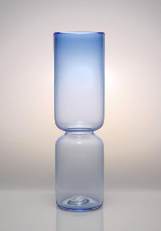 Blue Groove Series, Set of Six Handmade Modern Glass Design Vases In New Condition For Sale In New York, NY