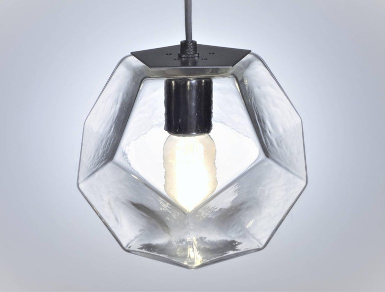 American Modern Handmade Glass Lighting - Hedron Series Pendant in Silver Leaf For Sale