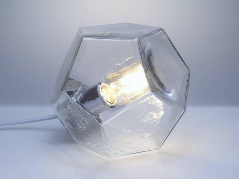 American Hedron Series Tadpole Table Light, Modern Handmade Glass Lighting For Sale