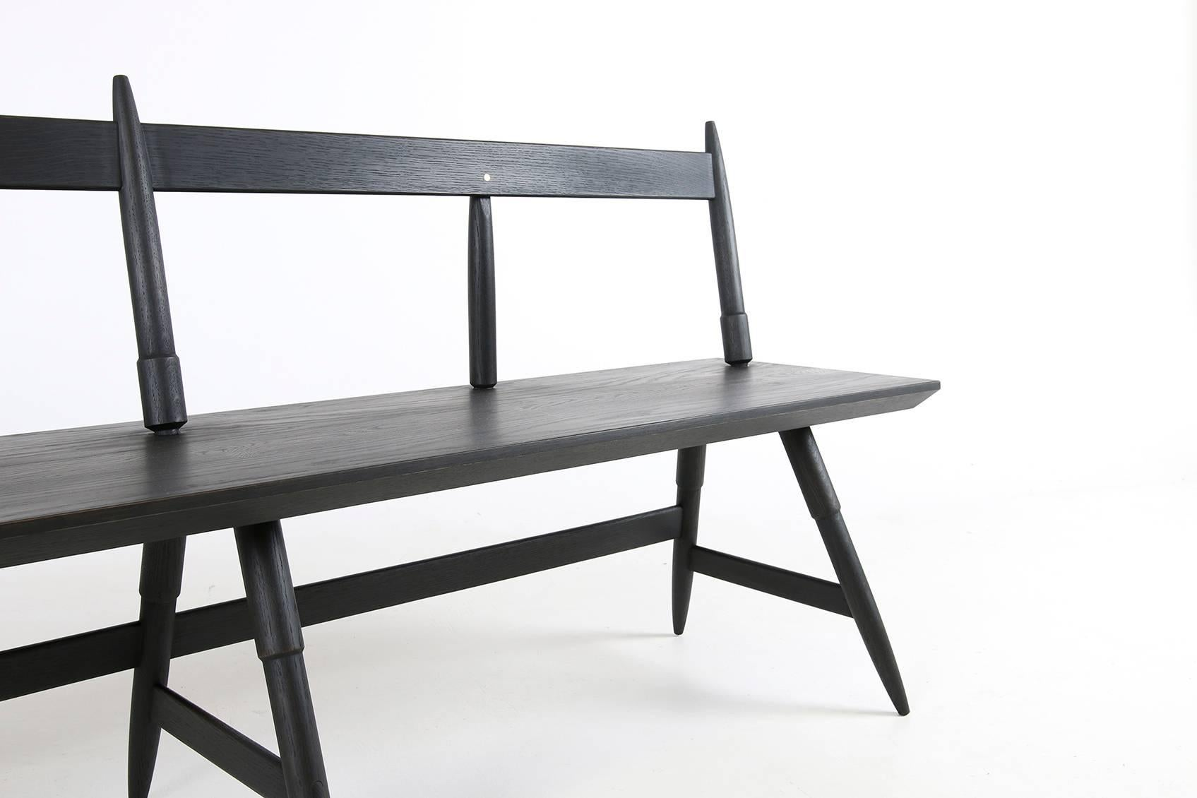 Solid Hardwood Rockport Bench With Brass Inlays Custom Made By