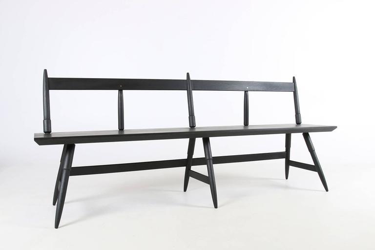 Rockport Bench In Seasoned Black With Brass Custom Made