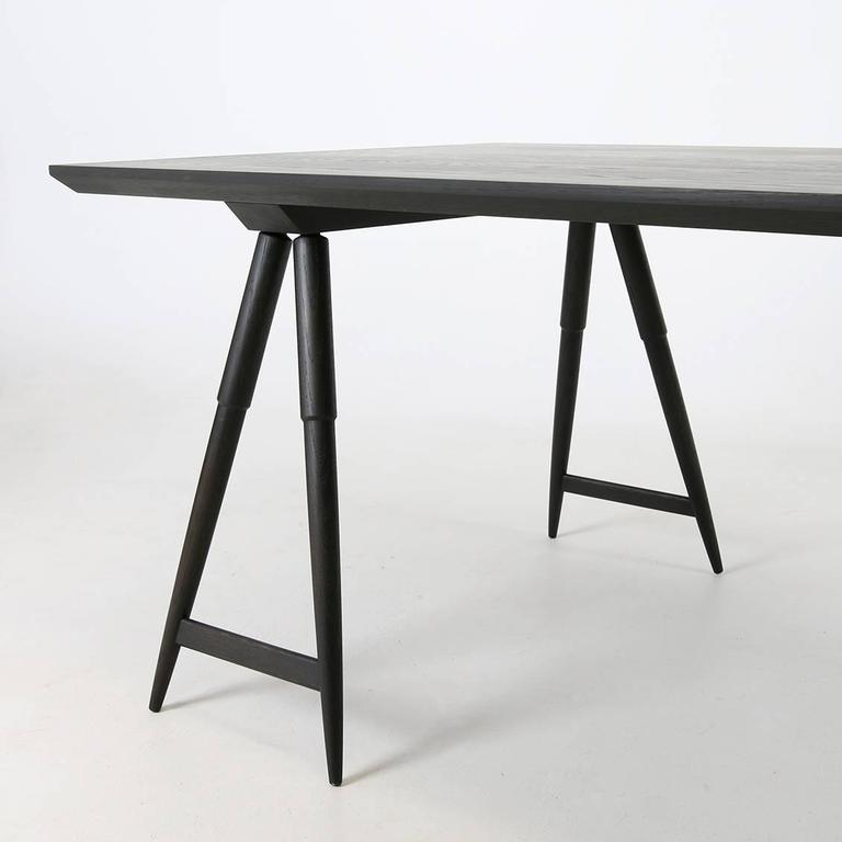 Rockport Sawhorse Table, White Oak With Seasoned Black Finish By Studio  Dunn 2