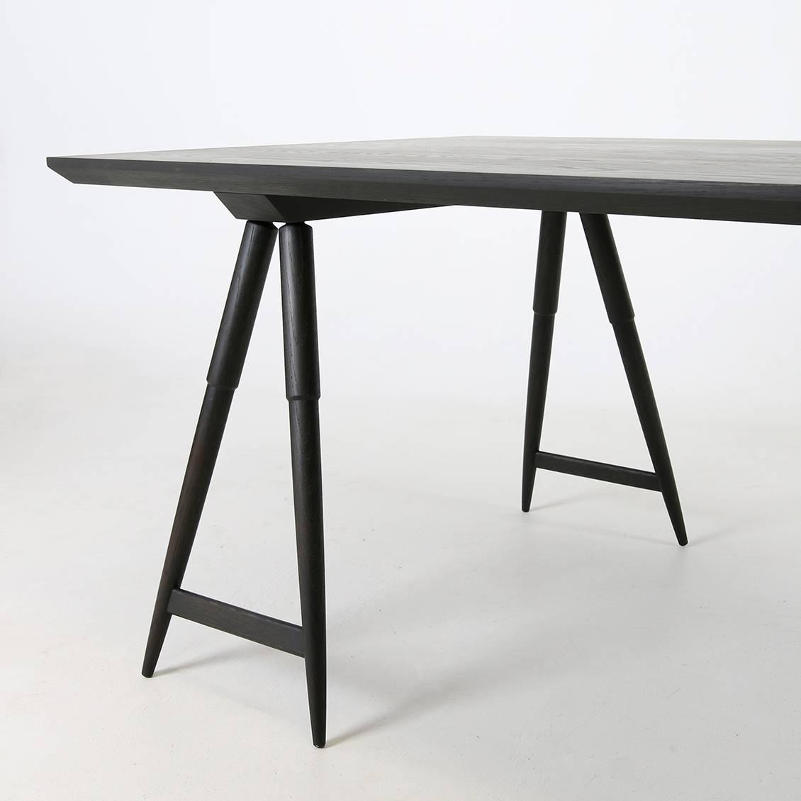 Rockport Sawhorse Table White Oak With Seasoned Black Finish By Studio Dunn For At 1stdibs