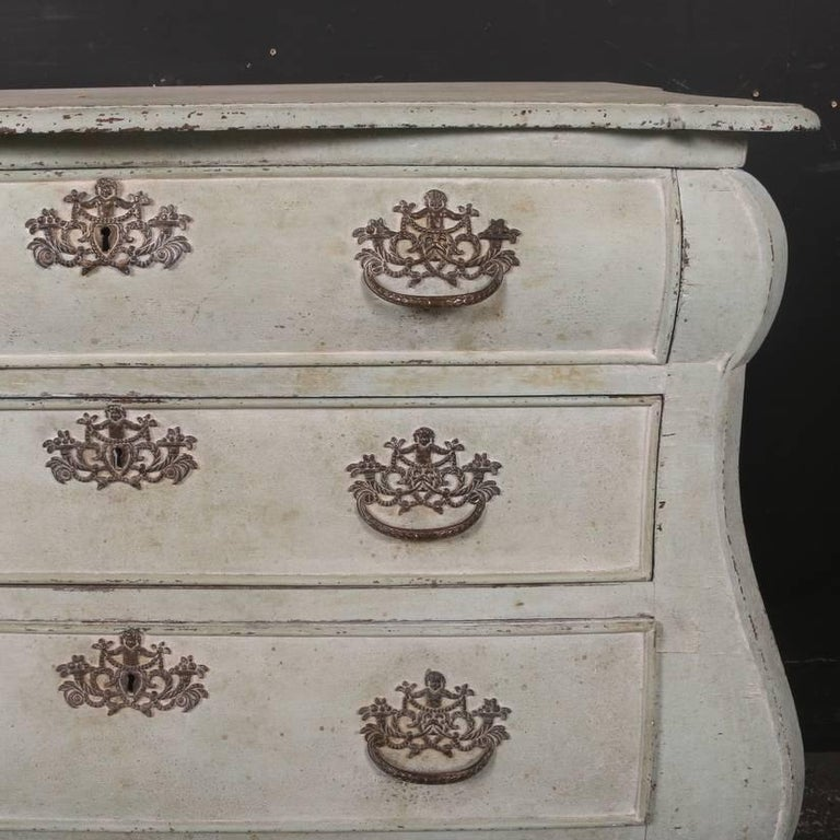 Painted 18th Century Dutch Bombe Commode For Sale